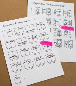 Thumbnail page layouts. Writers use keywords, and illustrators use sketches to suggest action and placement of text.