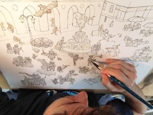 Illustrator Piotr Parda works on The Gentleman Bat