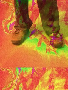 Standing feet in sneakers surrounded by splashes of color