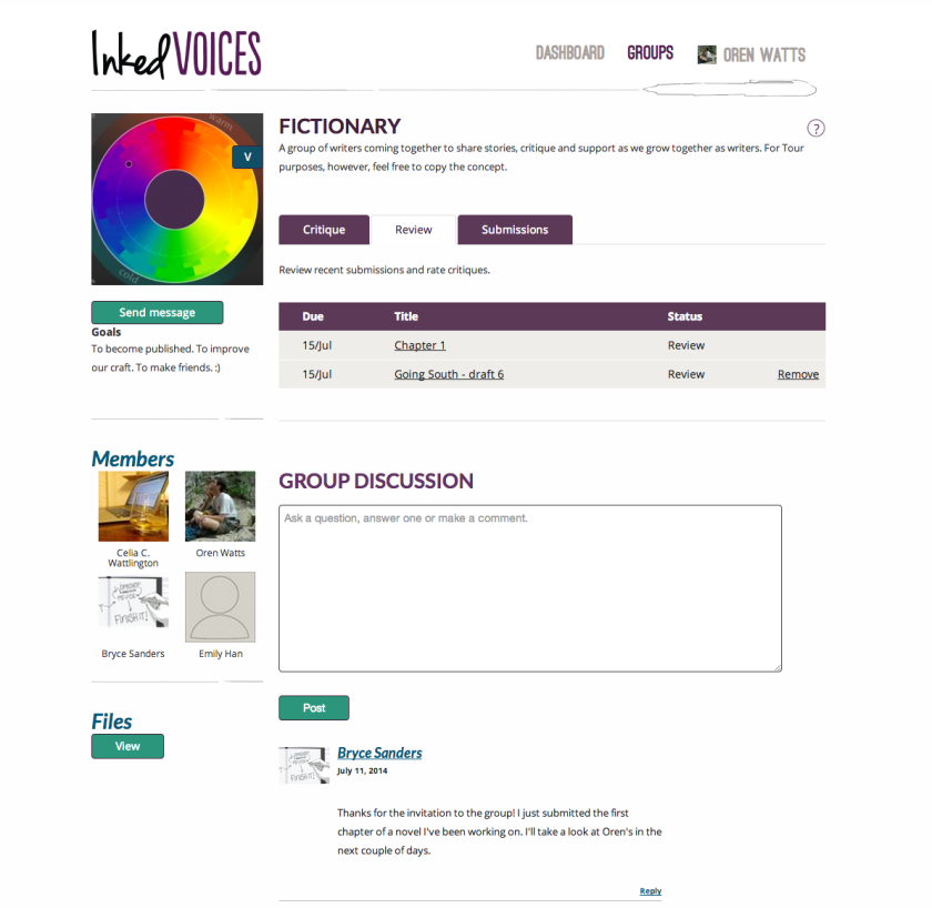 InkedVoices provides a virtual space for writing groups to come together. (Click for larger view.)