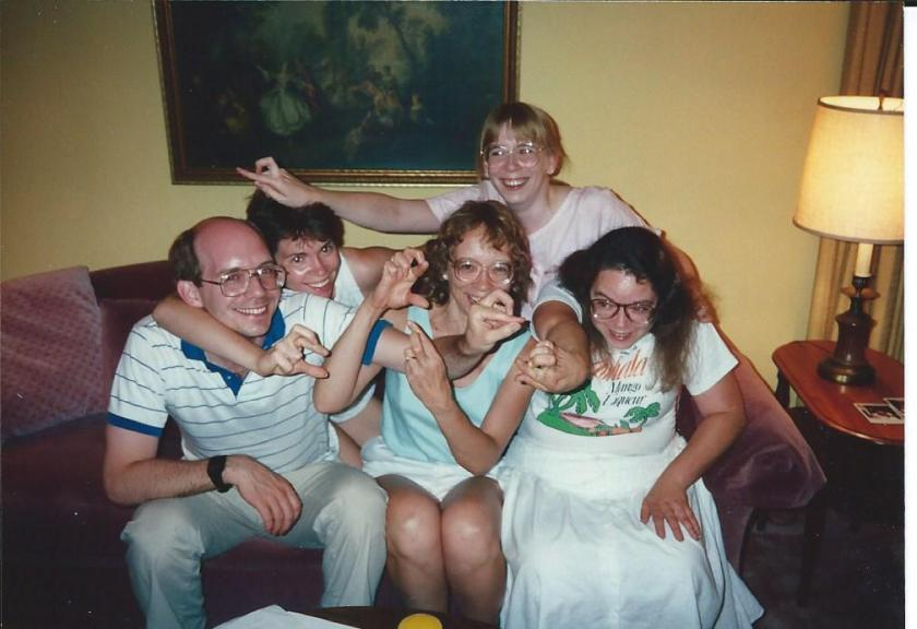 Five of the six Pratt kids making Bird characters in the 1980s. I'm the one at the top.