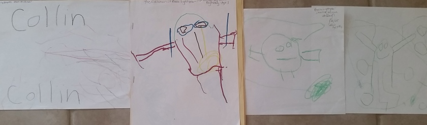 My son Collin's art evolution age 14 mos to age 5.