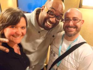 2015 Newbery Medalist Kwame Alexander (center) with fans Michelle Cusolito and Josh Funk