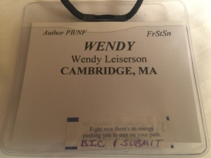 "My 1st official nametag as an ""Author"" and the inspirational fortune I received at NESCBWI"
