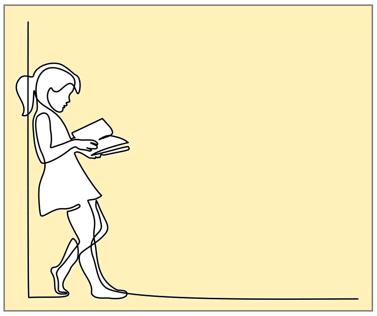 Outline of a girl leaning on a wall reading a book.